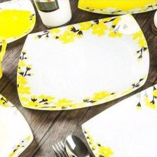 سرویس غذاخوری ظروف شیشه ای آرکوفام ۲۵ پارچه مدل آتنا زرد