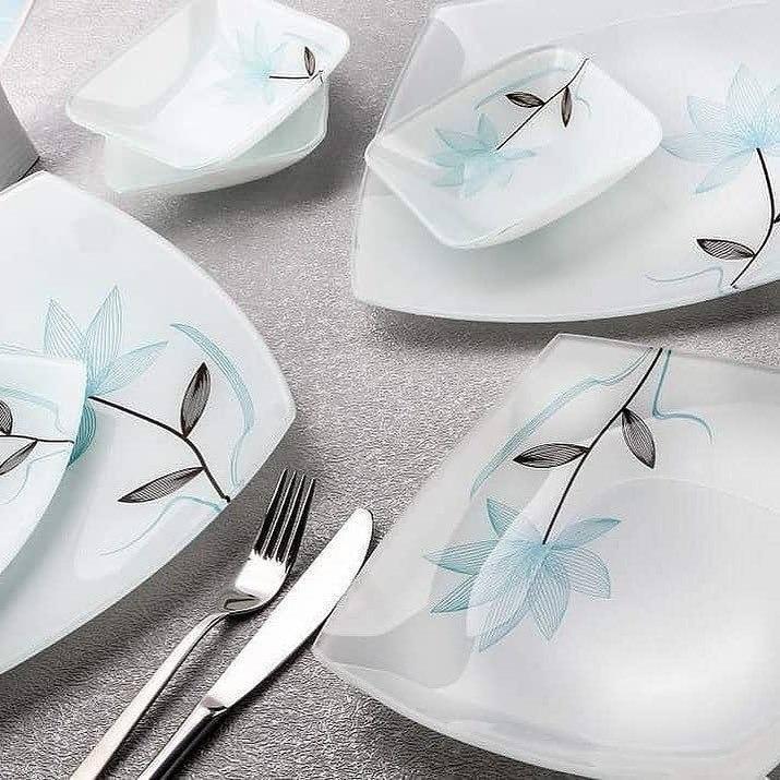 سرویس ظروف شیشه ای غذاخوری آرکوفام ۲۵ پارچه مدل فلاور آبی