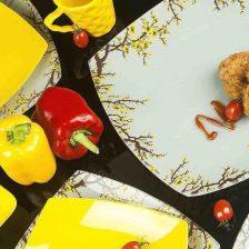 سرویس ظروف شیشه ای غذاخوری آرکوفام مدل ۲۵ پارچه طرح شکوفه