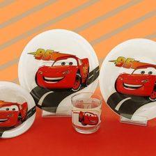 سرویس غذاخوری شیشه ای آذین اوپال ۴ نفره کودک ماشین ها کد ۱۱۵