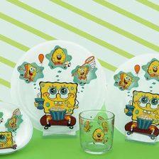 سرویس غذاخوری شیشه ای آذین اوپال ۴ نفره کودک باب اسفنجی کد ۱۱۰