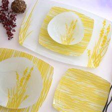 سرویس غذاخوری شیشه ای های سنت زرد آذین اوپال ۲۵ پارچه کد ۹۰۷