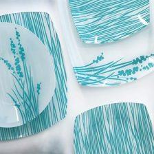 سرویس غذاخوری شیشه ای های سنت سبز آبی آذین اوپال ۲۵ پارچه کد ۹۰۶