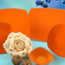 سرویس غذاخوری شیشه ای تک رنگ نارنجی  آذین اوپال ۲۵ پارچه کد ۹۰۲