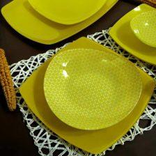 سرویس غذاخوری شیشه ای ترن زرد  آذین اوپال ۲۵ پارچه کد ۹۰۹
