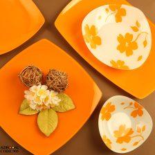 سرویس غذاخوری شیشه ای وانیا نارنجی آذین اوپال ۲۵ پارچه کد ۹۰۵