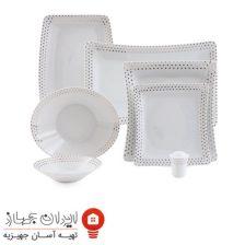 سرویس چینی ۳۰ پارچه غذاخوری اسپاتی پلاتینی