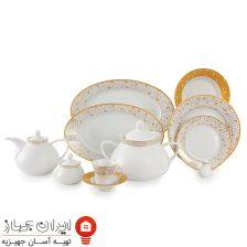 سرویس چینی  ژئومتریکال طلایی شهرزاد ۱۰۸ پارچه ۱۲ نفره
