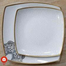 سرویس غذاخوری ۳۰ پارچه ( ۶ نفره ) چهار گوش چینی پردیس مدل نارنیا فیروزه