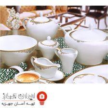 سرویس غذا خوری ۱۰۴ پارچه (۱۲ نفره) چینی پردیس مدل مرسیا طلا