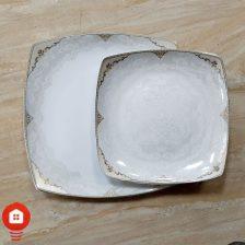 سرویس غذاخوری ۳۰ پارچه ( ۶ نفره ) چهار گوش چینی پردیس مدل فربد