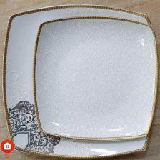 سرویس غذاخوری ۱۰۵ پارچه ( ۱۲ نفره ) چهار گوش چینی پردیس مدل نارنیا فیروزه