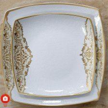 سرویس غذاخوری ۱۰۵ پارچه ( ۱۲ نفره ) چهار گوش چینی پردیس مدل سوگند طلا