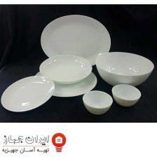سرویس غذاخوری ۲۶ پارچه گرد آرکوپال مقصود گل آرایی سفید (White)
