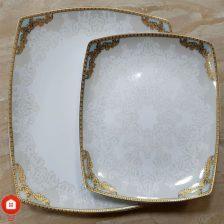 سرویس غذاخوری ۱۰۵ پارچه ( ۱۲ نفره ) چهار گوش چینی پردیس مدل ماهین فیروزه