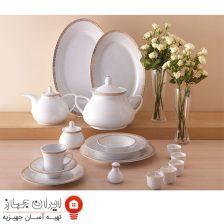 سرویس غذاخوری ۱۰۸ پارچه چینی زرین ایران سری شهرزاد مدل رومینا ( Romina ) درجه عالی