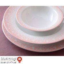 سرویس غذاخوری ۲۸ پارچه چینی زرین ایران سری ایتالیا اف مدل ساکورا صورتی ( Sakora Pink ) درجه یک