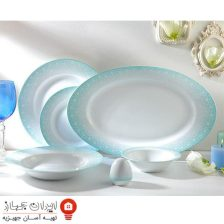 سرویس غذاخوری ۲۸ پارچه چینی زرین ایران سری ایتالیا اف مدل ساکورا آبی ( Sakora Blue ) درجه یک