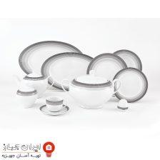 سرویس غذاخوری ۲۸ پارچه چینی زرین ایران سری ایتالیا اف مدل سیلورلاینر ( Silver layner )درجه یک